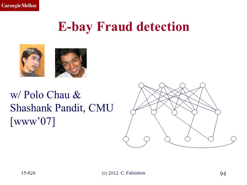 CMU SCS 15-826(c) 2012 C. Faloutsos 94 E-bay Fraud detection w/ Polo Chau & Shashank Pandit, CMU [www'07]
