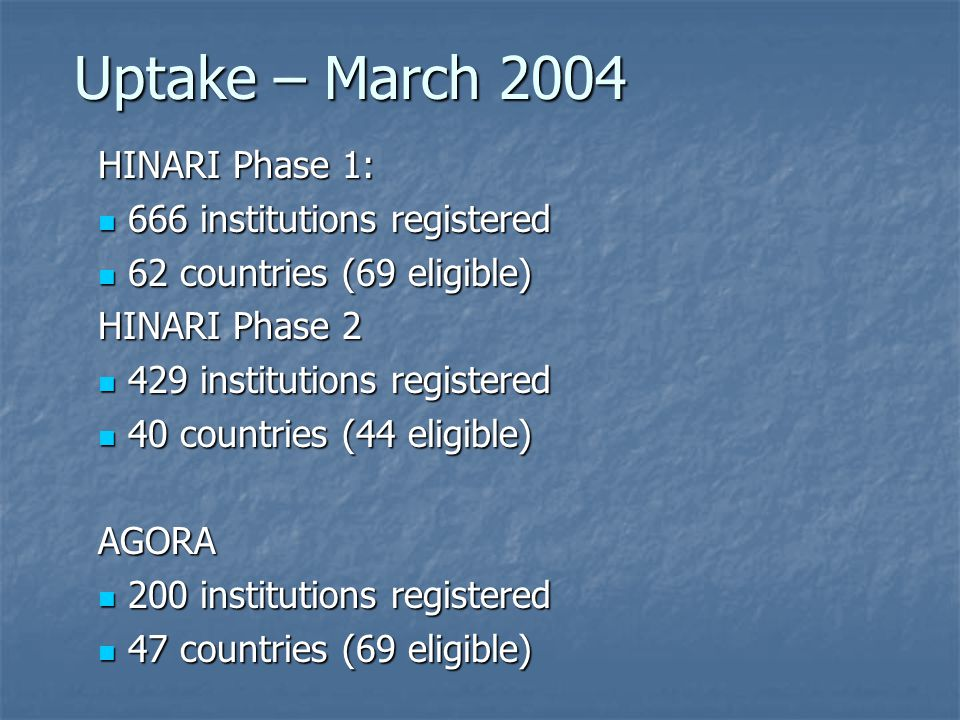 Uptake – March 2004 HINARI Phase 1: 666 institutions registered 666 institutions registered 62 countries (69 eligible) 62 countries (69 eligible) HINARI Phase 2 429 institutions registered 429 institutions registered 40 countries (44 eligible) 40 countries (44 eligible)AGORA 200 institutions registered 200 institutions registered 47 countries (69 eligible) 47 countries (69 eligible)