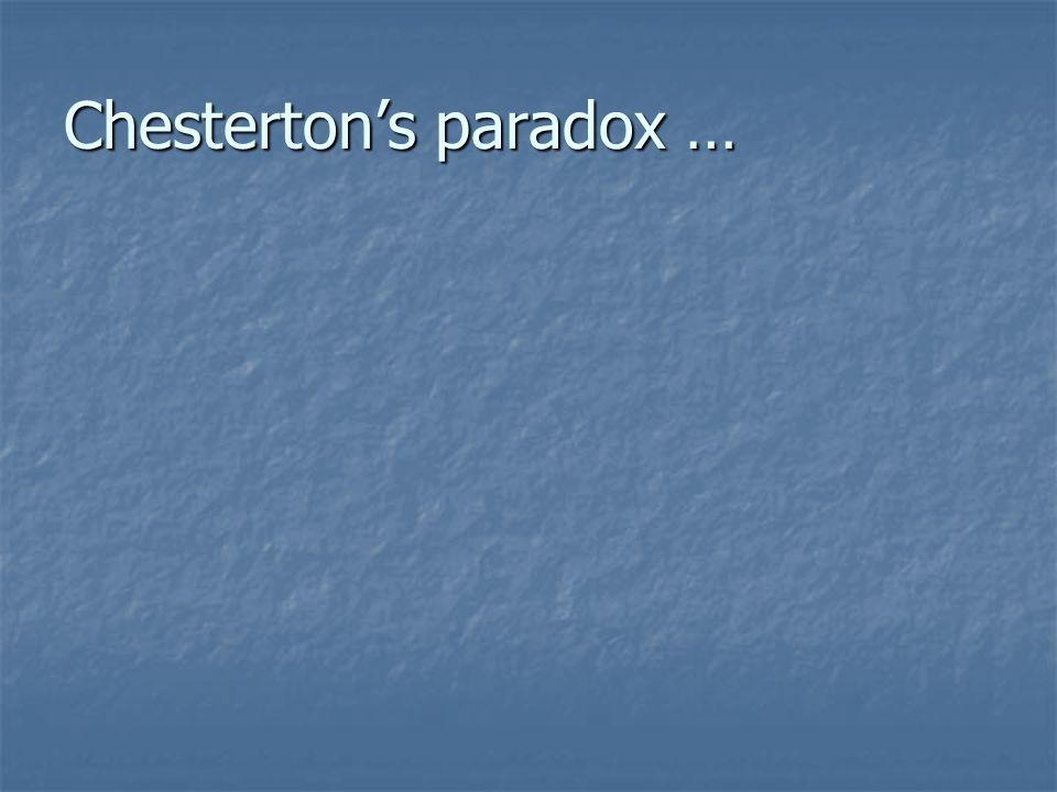 Chesterton's paradox …
