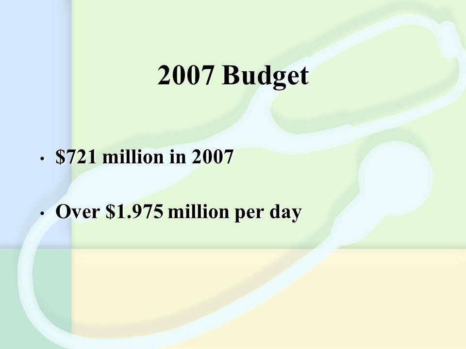 2007 Budget $721 million in 2007 Over $1.975 million per day $721 million in 2007 Over $1.975 million per day