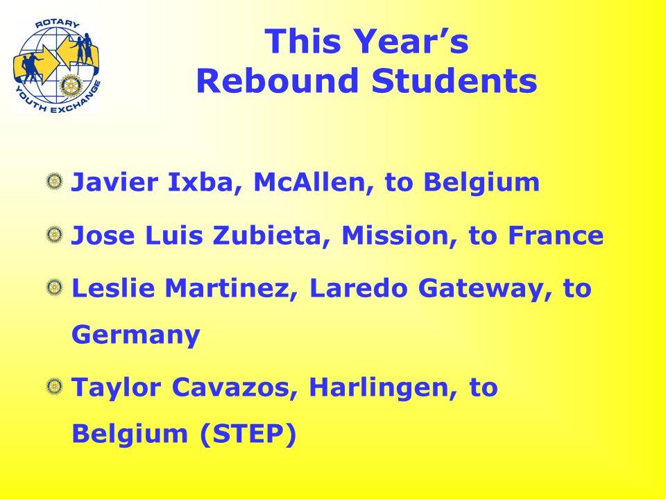 This Year's Rebound Students Javier Ixba, McAllen, to Belgium Jose Luis Zubieta, Mission, to France Leslie Martinez, Laredo Gateway, to Germany Taylor Cavazos, Harlingen, to Belgium (STEP)