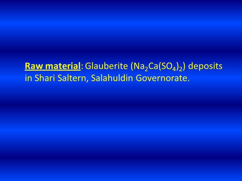 Raw material: Glauberite (Na 2 Ca(SO 4 ) 2 ) deposits in Shari Saltern, Salahuldin Governorate.