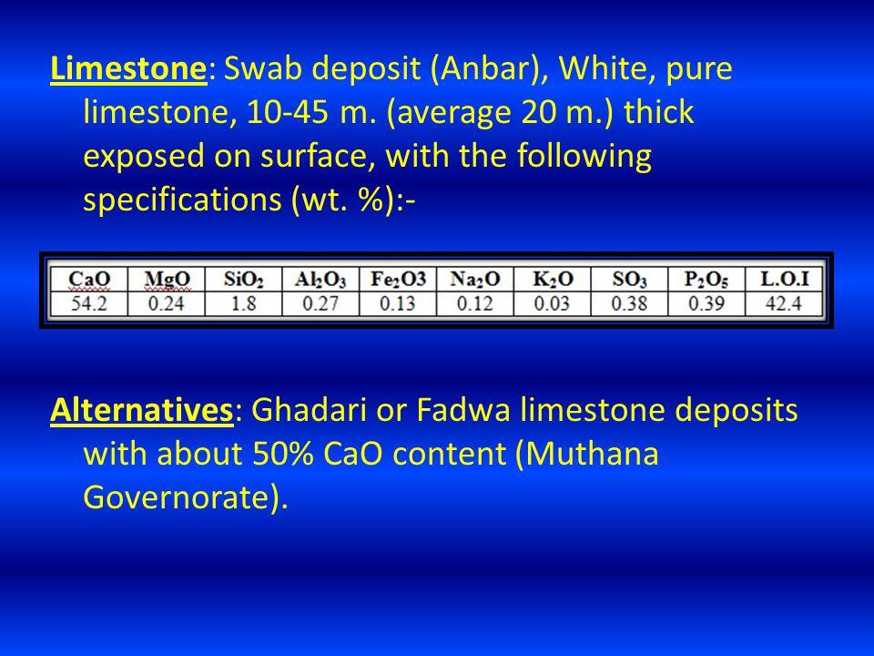 Limestone: Swab deposit (Anbar), White, pure limestone, 10-45 m.