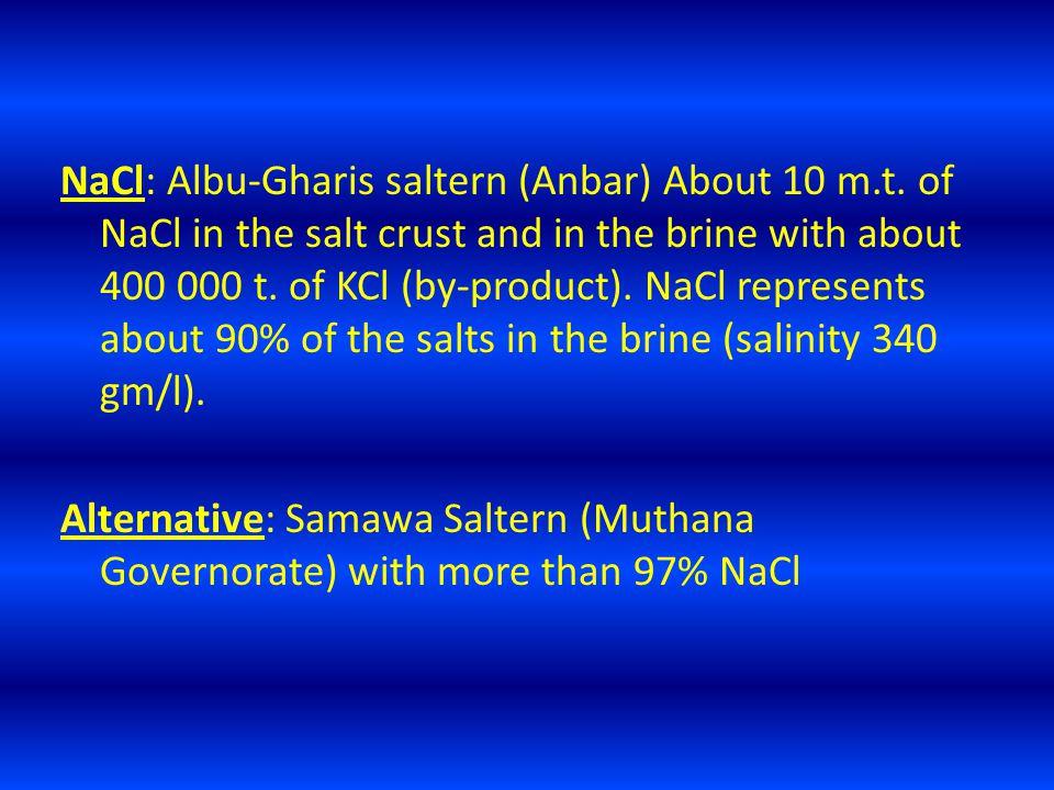 NaCl: Albu-Gharis saltern (Anbar) About 10 m.t.