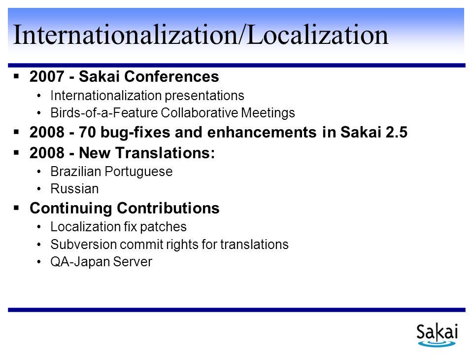 Internationalization/Localization  2007 - Sakai Conferences Internationalization presentations Birds-of-a-Feature Collaborative Meetings  2008 - 70