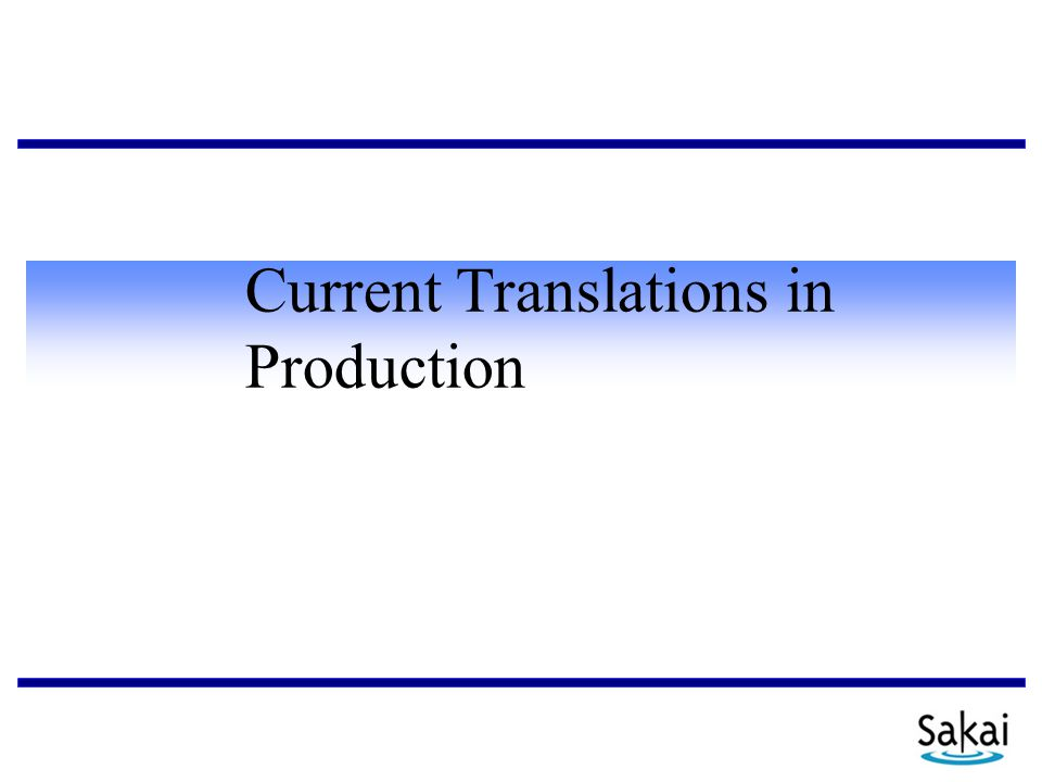 Current Translations in Production