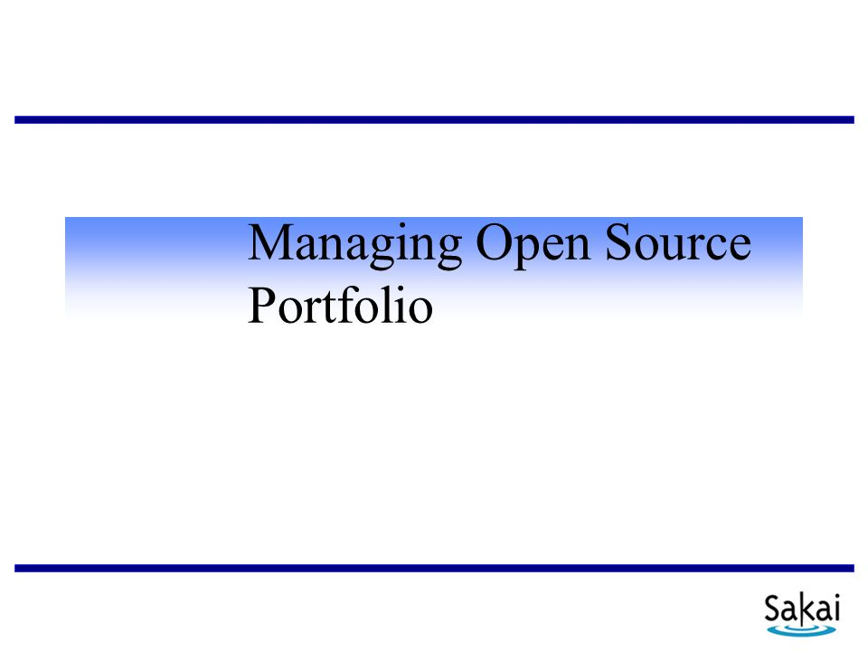 Managing Open Source Portfolio