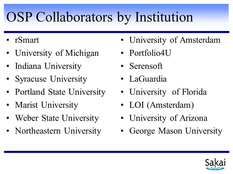 OSP Collaborators by Institution rSmart University of Michigan Indiana University Syracuse University Portland State University Marist University Webe