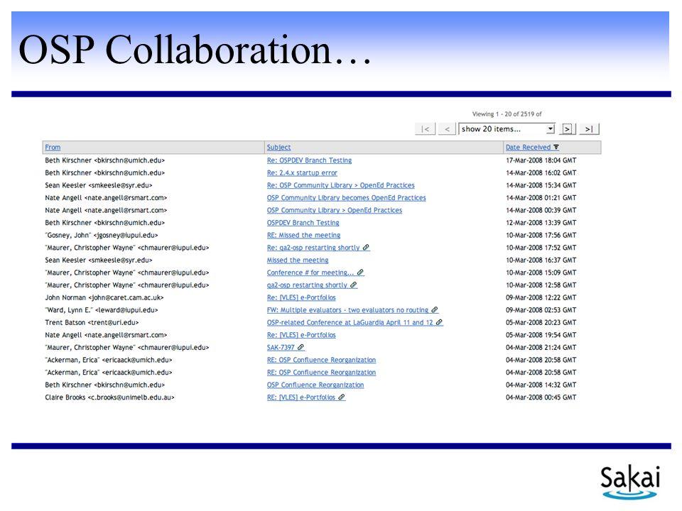 OSP Collaboration…