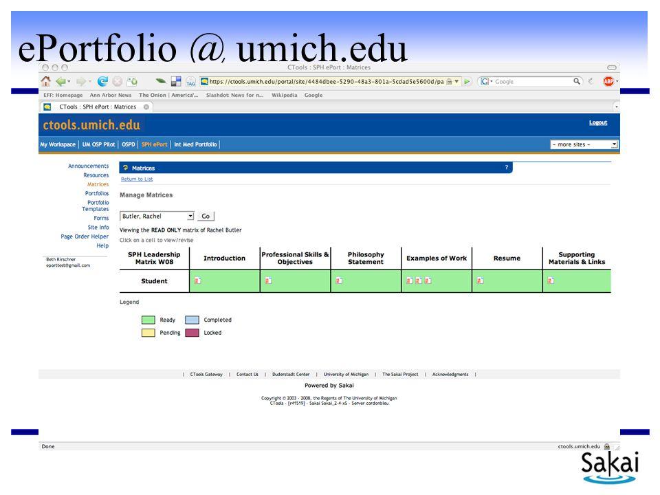 ePortfolio @ umich.edu