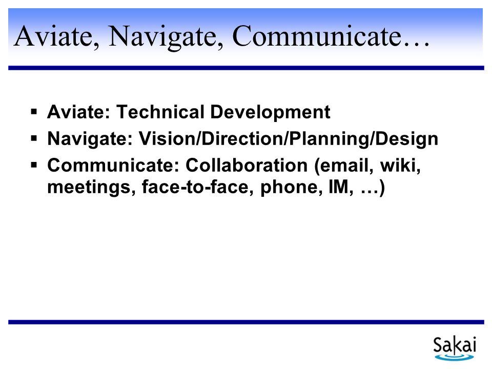 Aviate, Navigate, Communicate…  Aviate: Technical Development  Navigate: Vision/Direction/Planning/Design  Communicate: Collaboration (email, wiki,