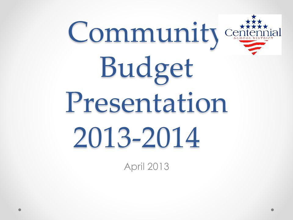 Community Budget Presentation 2013-2014 April 2013