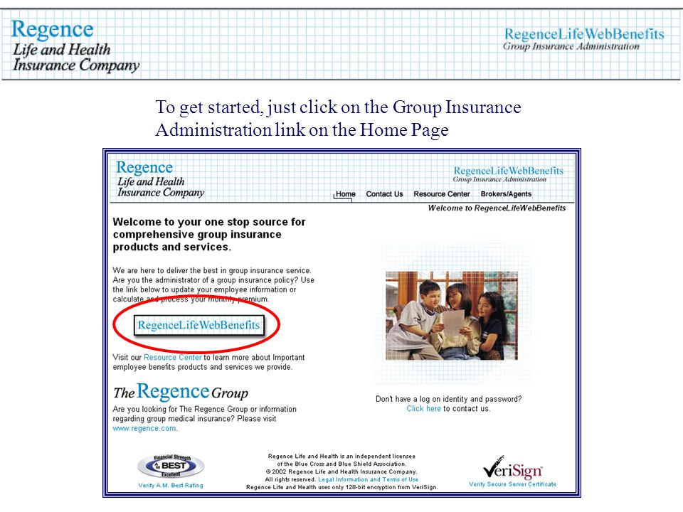 To get started, just click on the Group Insurance Administration link on the Home Page