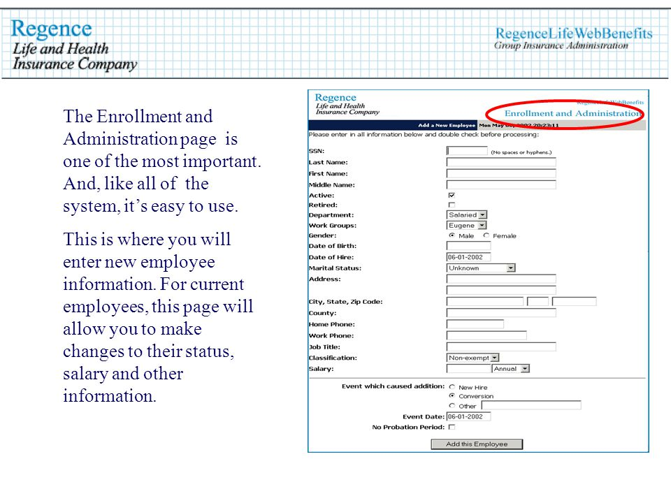 The Enrollment and Administration page is one of the most important.