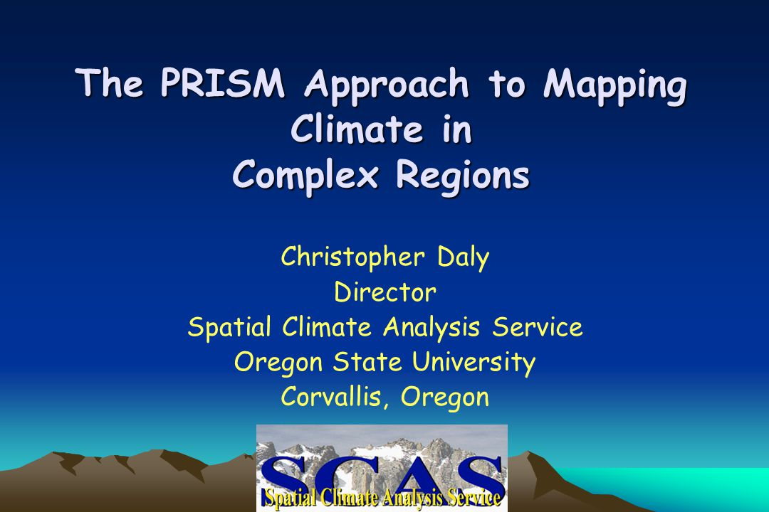 -Generates gridded estimates of climatic parameters -Moving-window regression of climate vs.