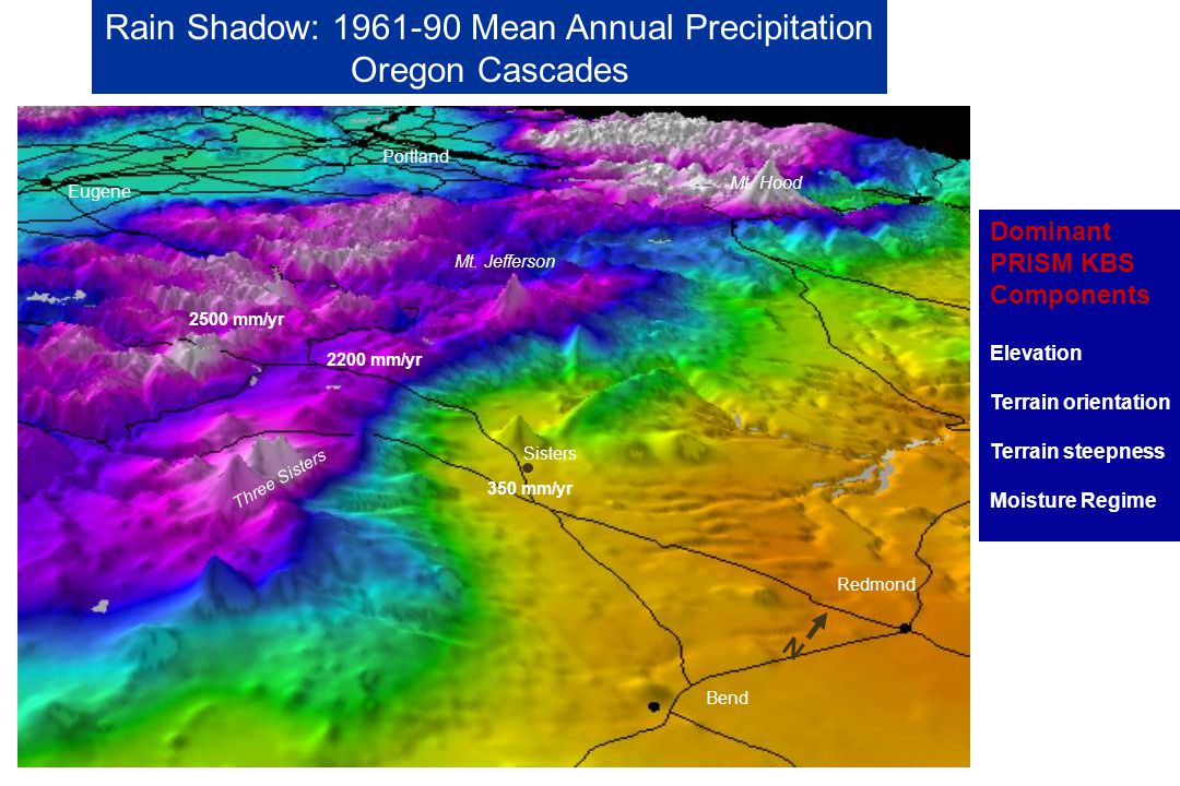 Rain Shadow: 1961-90 Mean Annual Precipitation Oregon Cascades Portland Eugene Sisters Redmond Bend Mt.