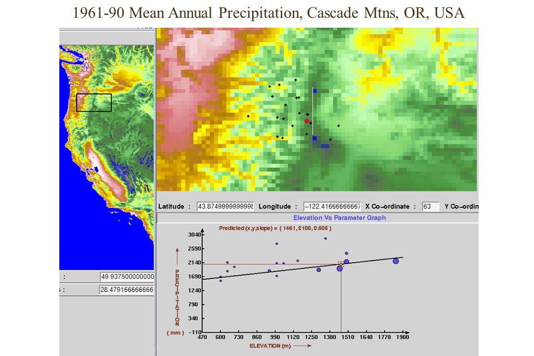 1961-90 Mean Annual Precipitation, Cascade Mtns, OR, USA