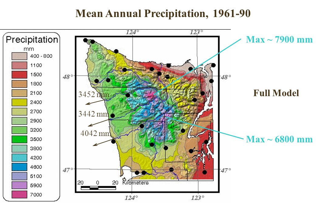 Oregon Annual Precipitation Full Model 3452 mm 3442 mm 4042 mm Max ~ 7900 mm Max ~ 6800 mm Mean Annual Precipitation, 1961-90
