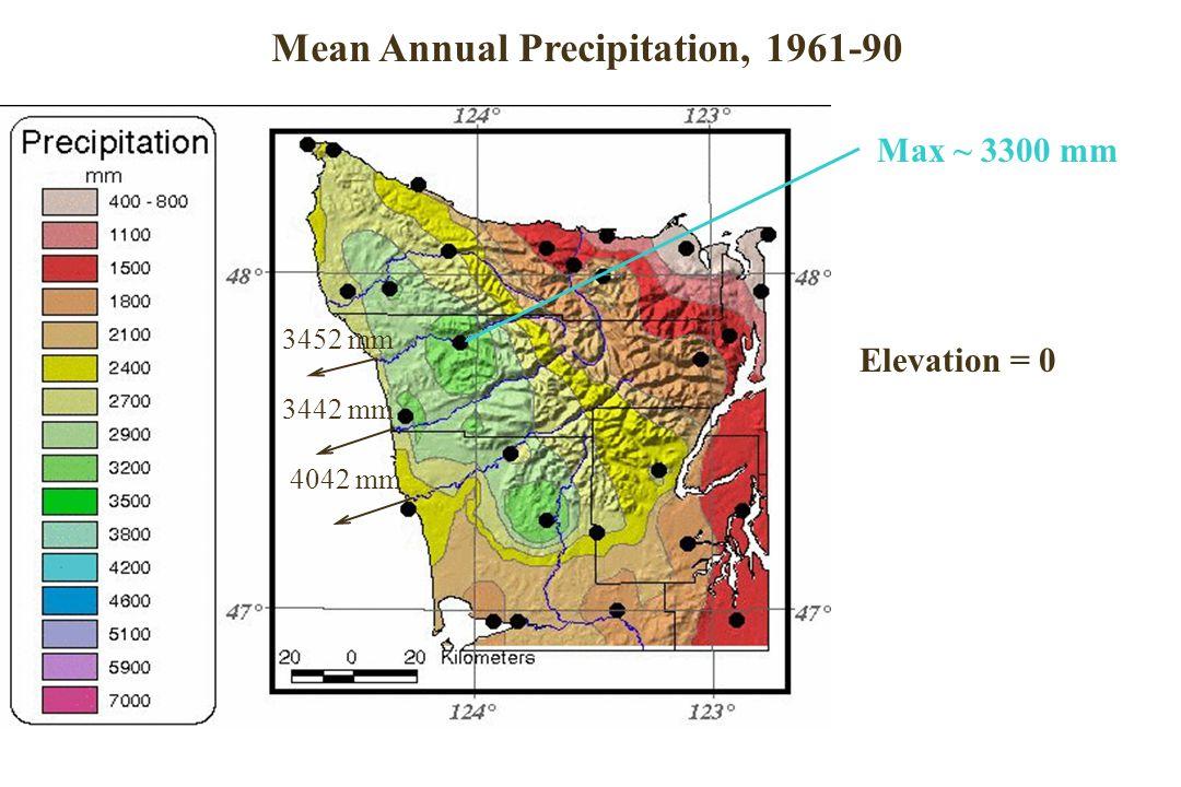 Oregon Annual Precipitation Elevation = 0 Max ~ 3300 mm 3452 mm 3442 mm 4042 mm Mean Annual Precipitation, 1961-90