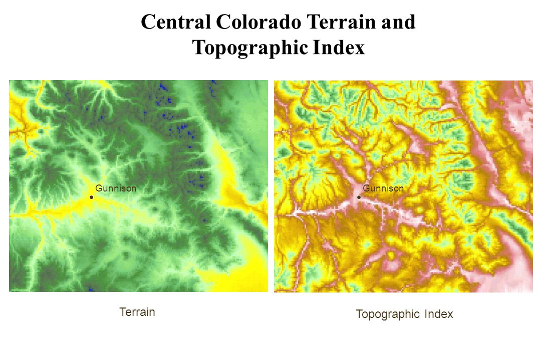Central Colorado Terrain and Topographic Index Terrain Topographic Index Gunnison