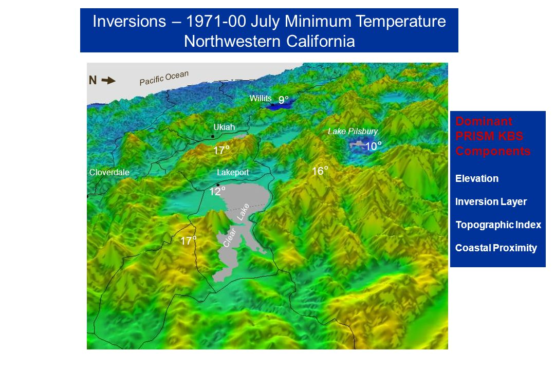 Inversions – 1971-00 July Minimum Temperature Northwestern California Ukiah CloverdaleLakeport Willits Clear Lake Pacific Ocean Lake Pilsbury.