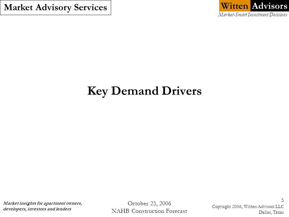 Witten Market Advisory Services Market insights for apartment owners, developers, investors and lenders Market-Smart Investment Decisions Advisors October 25, 2006 NAHB Construction Forecast 5 Copyright 2006, Witten Advisors LLC Dallas, Texas Key Demand Drivers