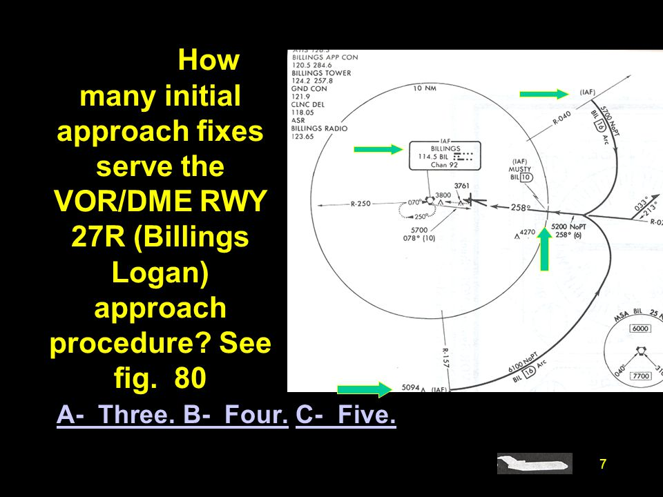 7 #4369. How many initial approach fixes serve the VOR/DME RWY 27R (Billings Logan) approach procedure? See fig. 80 A- Three. B- Four.A- Three. B- Fou