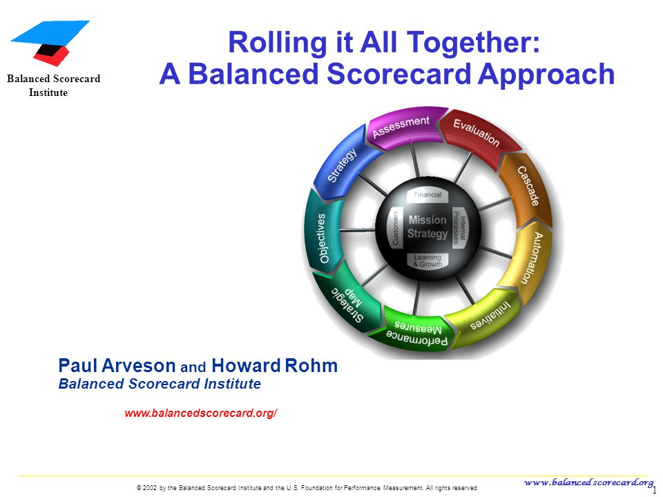 www.balanced scorecard.org © 2002 by the Balanced Scorecard Institute and the U.S. Foundation for Performance Measurement. All rights reserved. 1 U.S.