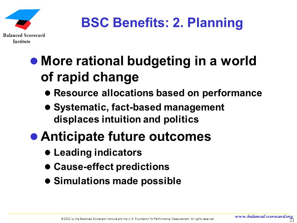 www.balanced scorecard.org © 2002 by the Balanced Scorecard Institute and the U.S. Foundation for Performance Measurement. All rights reserved. 21 U.S