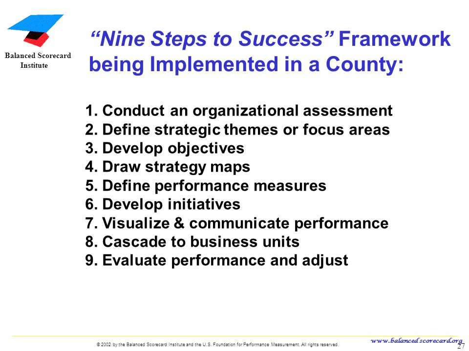 www.balanced scorecard.org © 2002 by the Balanced Scorecard Institute and the U.S. Foundation for Performance Measurement. All rights reserved. 27 U.S