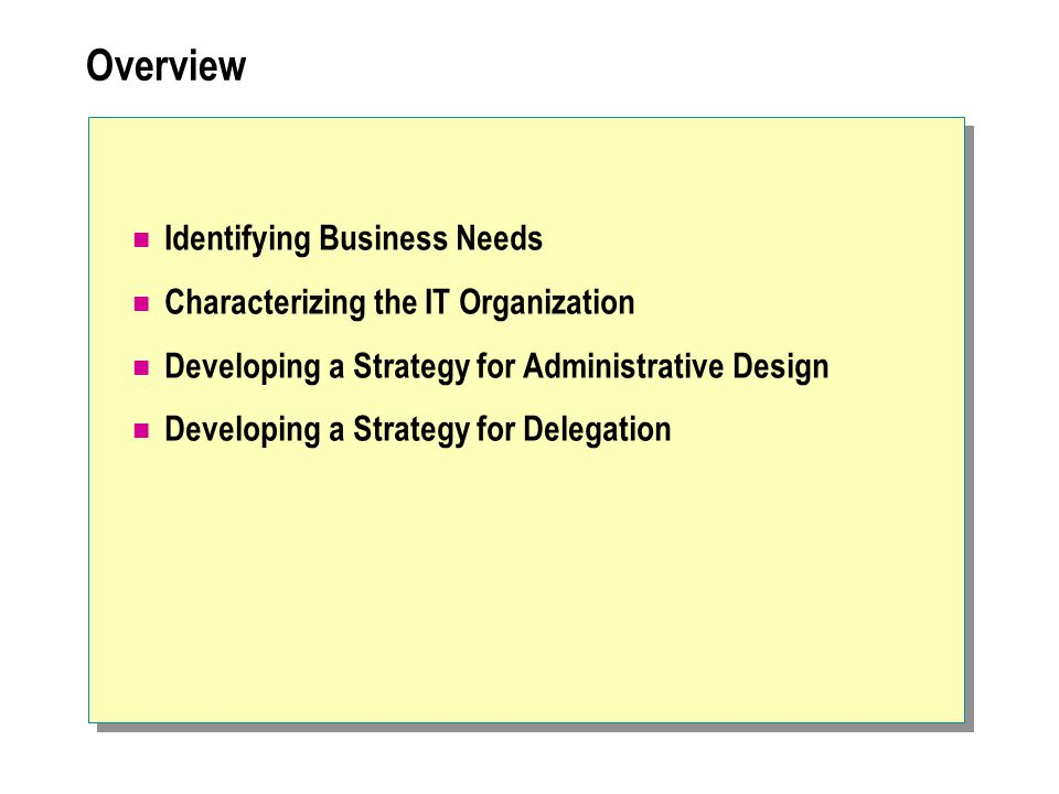 Overview Identifying Business Needs Characterizing the IT Organization Developing a Strategy for Administrative Design Developing a Strategy for Deleg