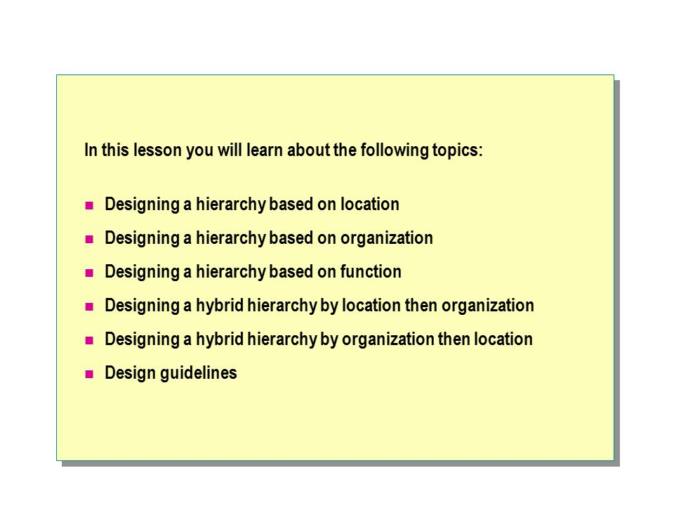 In this lesson you will learn about the following topics: Designing a hierarchy based on location Designing a hierarchy based on organization Designin