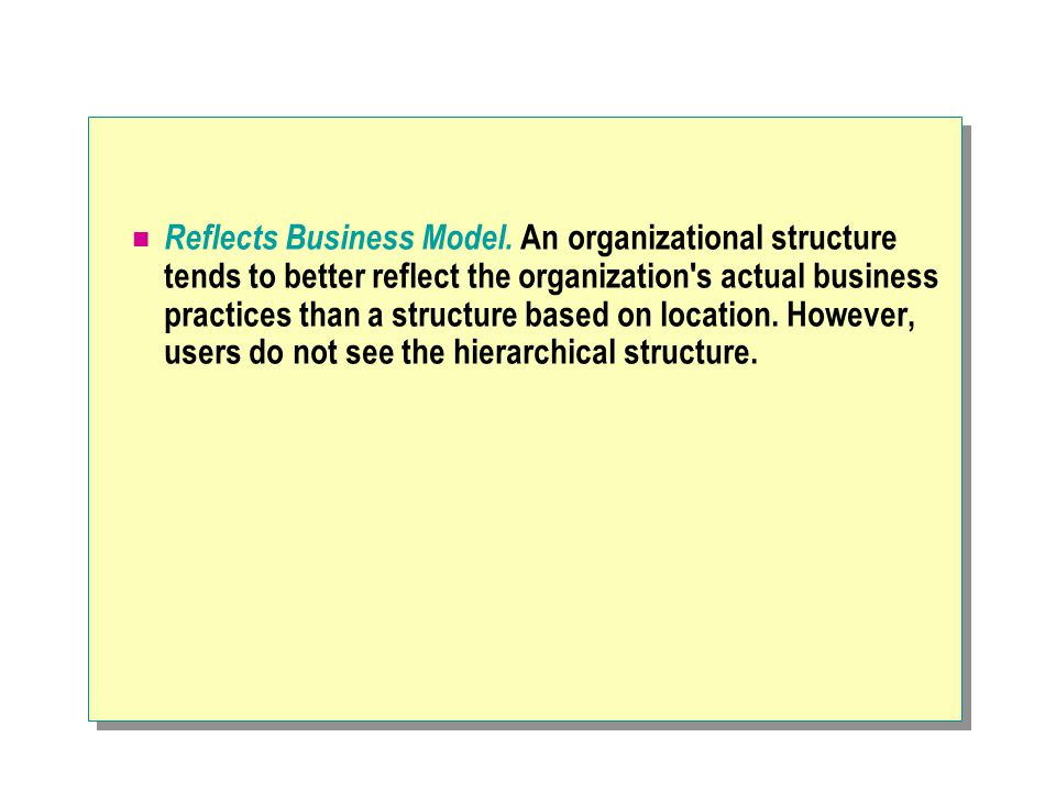 Reflects Business Model. An organizational structure tends to better reflect the organization's actual business practices than a structure based on lo