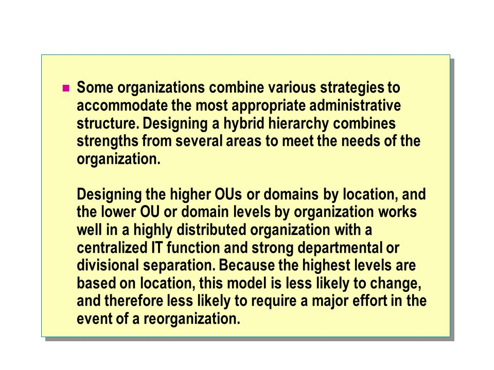 Some organizations combine various strategies to accommodate the most appropriate administrative structure. Designing a hybrid hierarchy combines stre