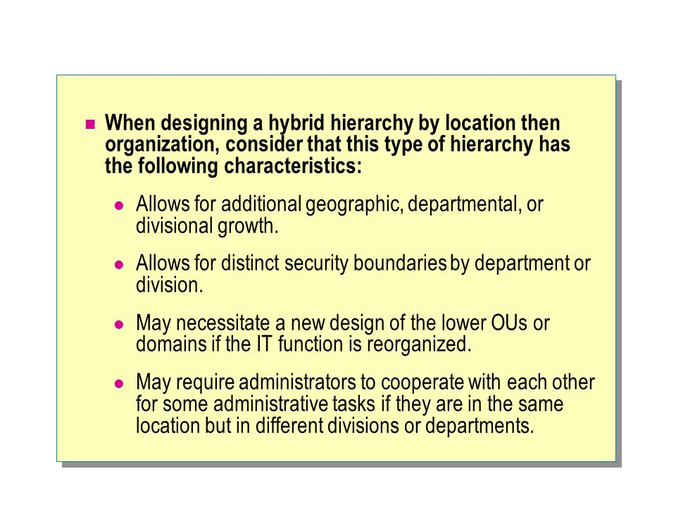When designing a hybrid hierarchy by location then organization, consider that this type of hierarchy has the following characteristics: Allows for ad