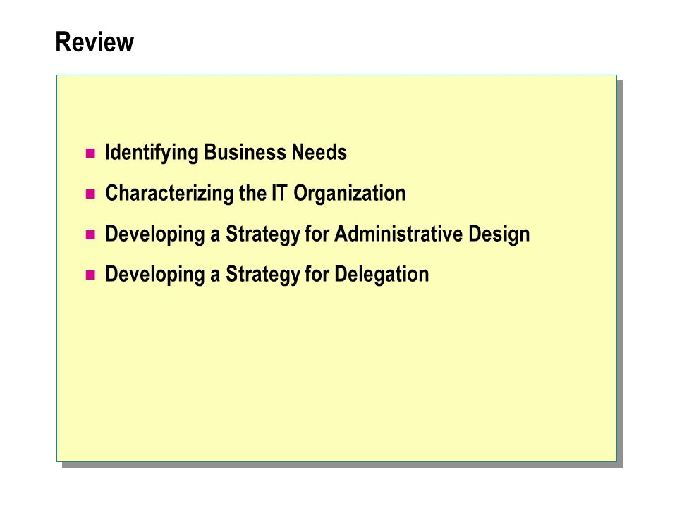Review Identifying Business Needs Characterizing the IT Organization Developing a Strategy for Administrative Design Developing a Strategy for Delegat
