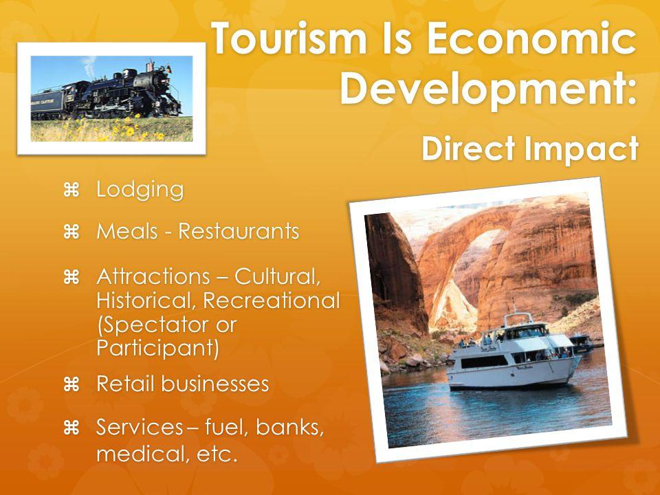 Tourism Is Economic Development: Direct Impact  Services – fuel, banks, medical, etc.  Retail businesses  Lodging  Meals - Restaurants  Attractio