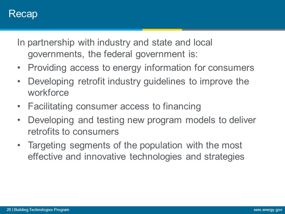 20 | Building Technologies Programeere.energy.gov In partnership with industry and state and local governments, the federal government is: Providing a