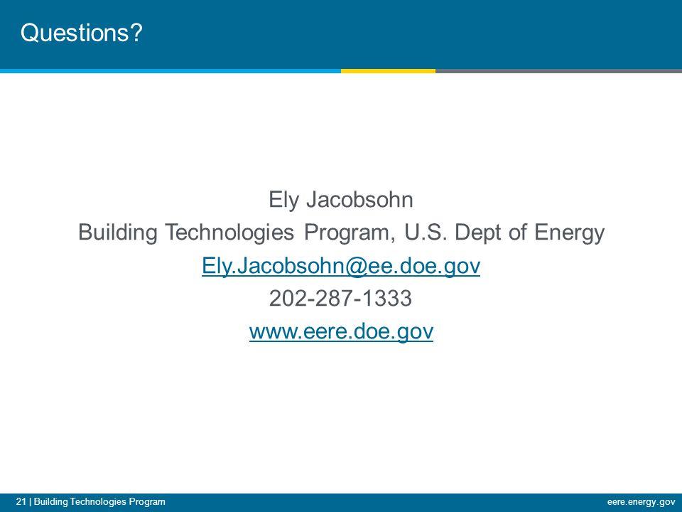 21 | Building Technologies Programeere.energy.gov Ely Jacobsohn Building Technologies Program, U.S.