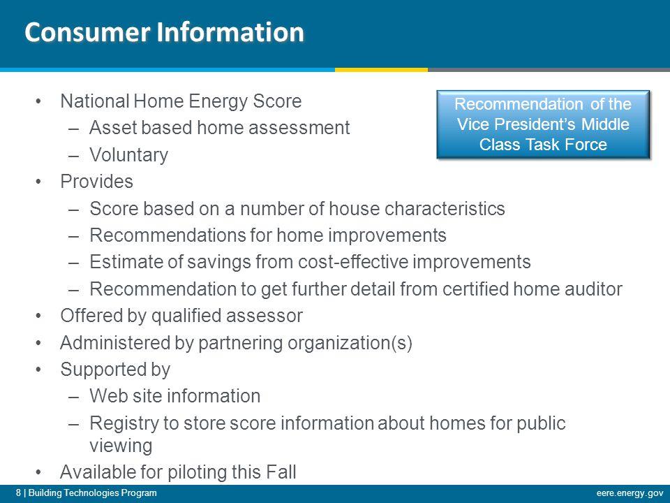 8 | Building Technologies Programeere.energy.gov National Home Energy Score –Asset based home assessment –Voluntary Provides –Score based on a number