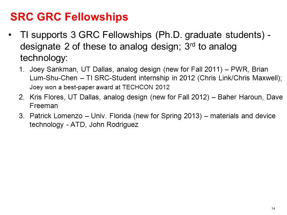14 SRC GRC Fellowships TI supports 3 GRC Fellowships (Ph.D.