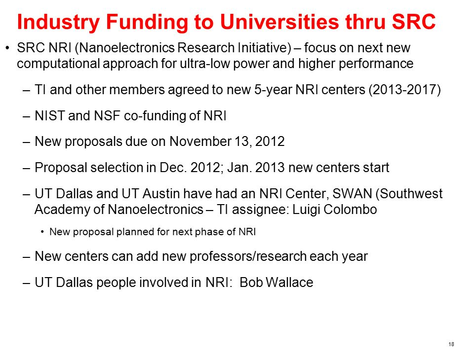 18 Industry Funding to Universities thru SRC SRC NRI (Nanoelectronics Research Initiative) – focus on next new computational approach for ultra-low power and higher performance –TI and other members agreed to new 5-year NRI centers (2013-2017) –NIST and NSF co-funding of NRI –New proposals due on November 13, 2012 –Proposal selection in Dec.