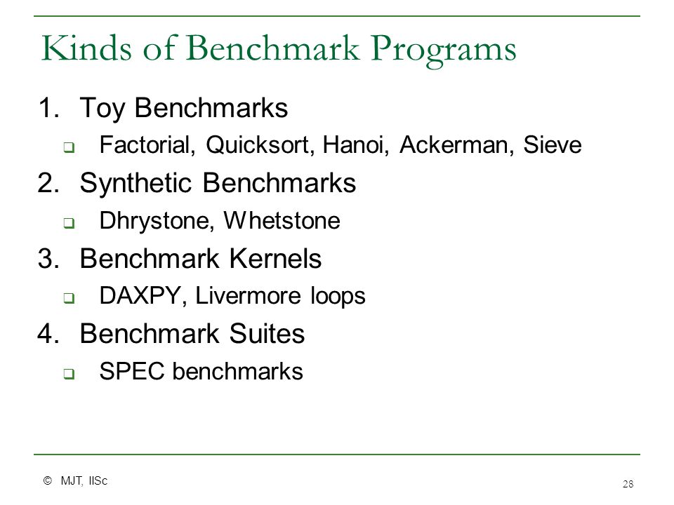 © MJT, IISc 28 Kinds of Benchmark Programs 1.Toy Benchmarks  Factorial, Quicksort, Hanoi, Ackerman, Sieve 2.Synthetic Benchmarks  Dhrystone, Whetsto