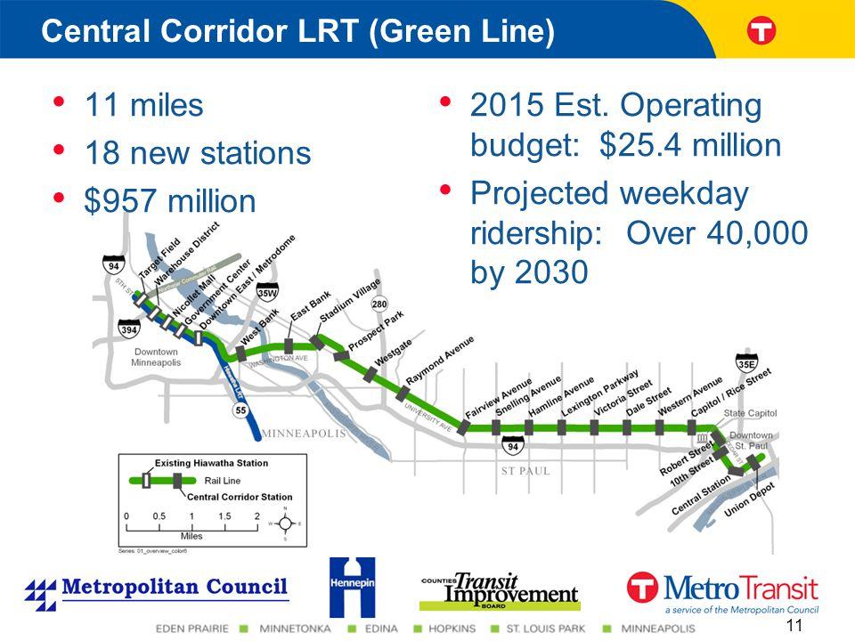 11 miles 18 new stations $957 million 2015 Est.