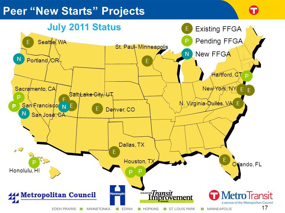 17 Peer New Starts Projects Orlando, FL Honolulu, HI New York, NY St.