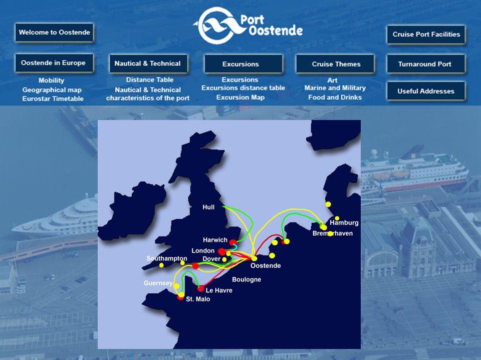 Port cityNautical distance (nautical miles) London119 miles Amsterdam120 miles Bremerhaven287 miles Hamburg342 miles Esbjerg330 miles Rosyth/Edinburgh400 miles Göteborg539 miles Oslo598 miles Köbhavn646 miles Klaipeda897 miles Sint-Petersburg1259 miles Portland219 miles Dartmouth259 miles Fowey302 miles Falmouth319 miles Isles of Scilly436 miles Cork482 miles Dieppe120 miles Le Havre165 miles Cherbourg201 miles Rouen235 miles Saint-Malo290 miles Guernsey (St Peter Port) 290 miles Nantes562 miles Bilbao659 miles La Corunna682 miles