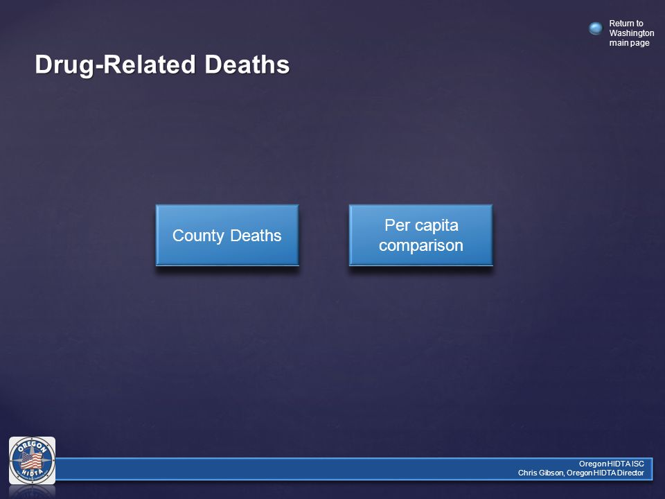 Return to Washington main page Oregon HIDTA ISC Chris Gibson, Oregon HIDTA Director Drug-Related Deaths County Deaths Per capita comparison Per capita comparison