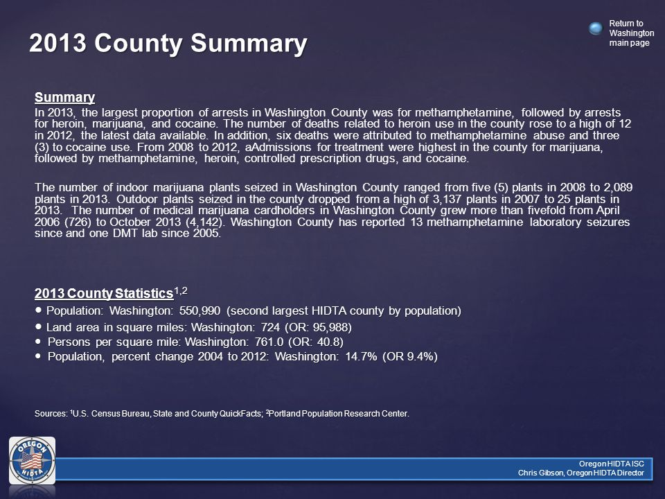 Return to Washington main page Oregon HIDTA ISC Chris Gibson, Oregon HIDTA Director 2013 County Summary Summary In 2013, the largest proportion of arrests in Washington County was for methamphetamine, followed by arrests for heroin, marijuana, and cocaine.