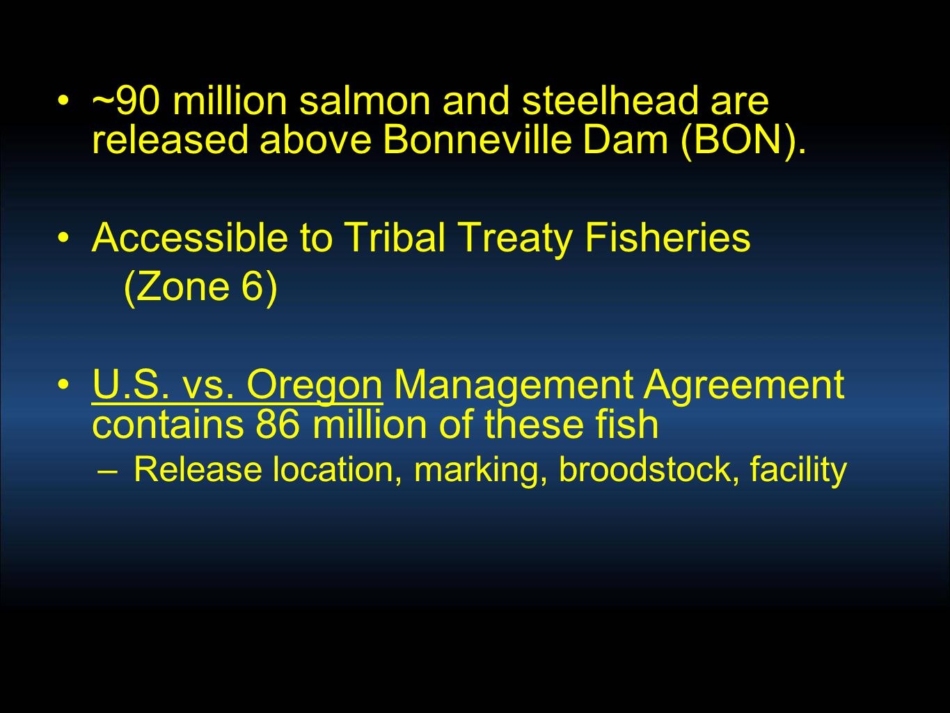 ~90 million salmon and steelhead are released above Bonneville Dam (BON). Accessible to Tribal Treaty Fisheries (Zone 6) U.S. vs. Oregon Management Ag