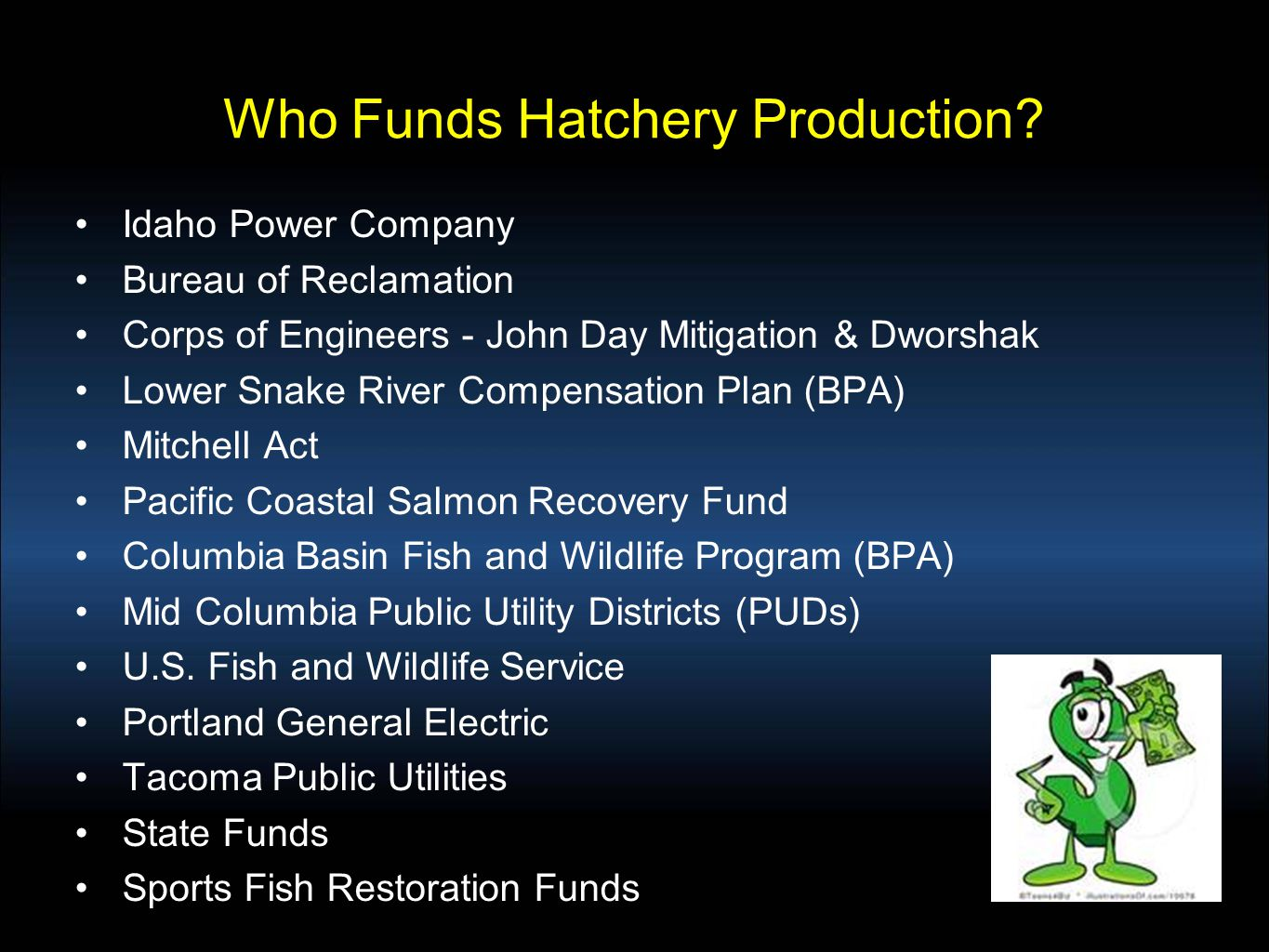 Who Funds Hatchery Production.